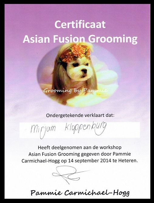 Certificaat Asian Grooming - © Trimsalon Mirjam Kloppenburg